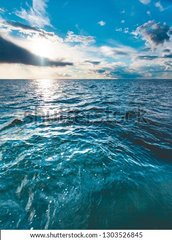 Beautiful seascape blue sea horizon and sky. Tranquil scene. Natural composition of nature. Landscape. stock photo