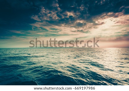 Beautiful seascape evening sea horizon and sky. Tranquil scene. Natural composition of blue water nature #669197986