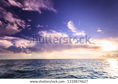 Beautiful seascape evening sea horizon and sky. Tranquil scene. Natural composition of nature. Landscape. View from yacht. #1318874627