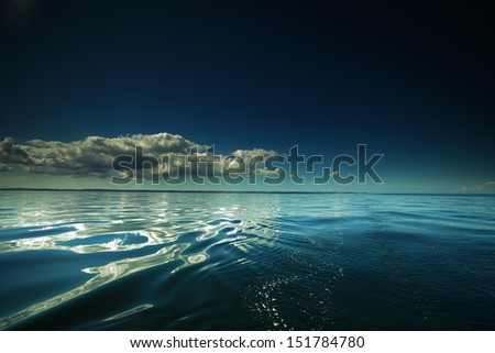 Beautiful seascape evening sea horizon and sky. Tranquil scene. Natural composition of nature.