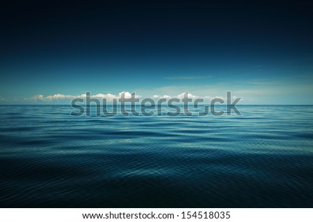 Beautiful seascape evening sea horizon and sky. Tranquil scene. Natural composition of nature. #154518035