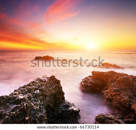Beautiful seascape. Nature composition of sunset.