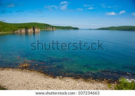 beautiful seascape of bay on Russian Island