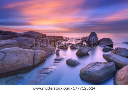 Beautiful seascape of Thailand during sunset in Larn Hin Kaw at Hadmarrumphung ,Rayong Thailand.