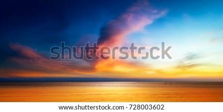 Beautiful seascape of Twilight sky and the sea #728003602