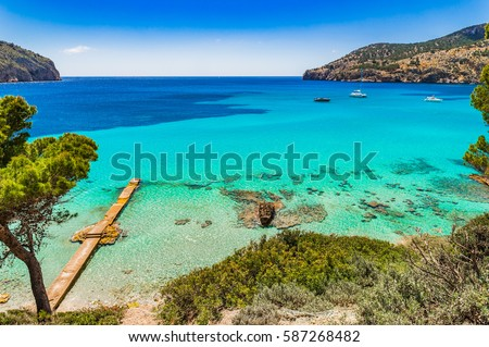 Beautiful seascape scenery on Majorca island, view of Camp de Mar, Spain Balearic Islands, Mediterranean Sea. #587268482