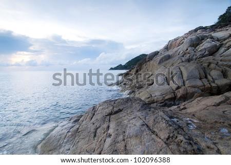 Beautiful seascape. Sea and rock