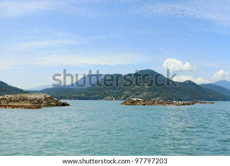 Beautiful seascape - Seal islands in Pacific ocean. Vancouver island.Canada.
