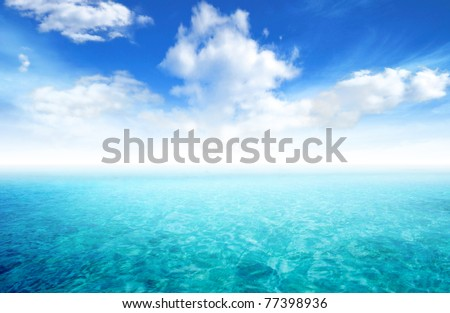 beautiful seascape with blue sky and cloud background stock photo