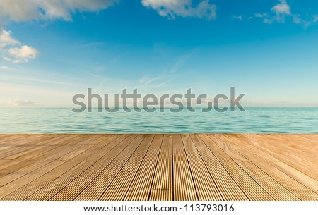 Beautiful seascape with empty wooden pier giving a warm relaxing feeling