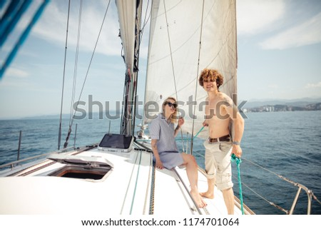 Beautiful Seascape with White Yacht Sailing in Blue Sea. Square Photo with Copy Space. #1174701064