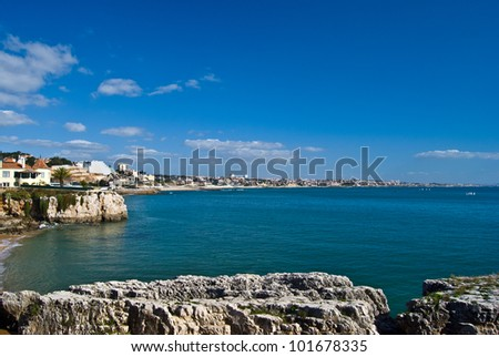 beautiful seashore in Cascais on a sunny day