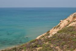 Beautiful seashore in summer. Calm blue sea landscape. Stony and sandy seashore.  Flowers  on rocky cliff. Sunny seascape. Netanya city, Israel