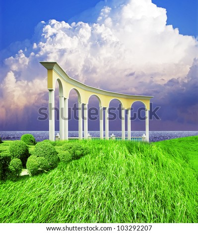 beautiful  seashore with  arch
