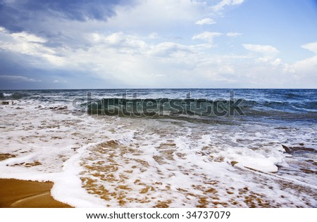 Beautiful seashore with coastal waves. #34737079