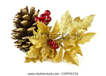 Beautiful seasonal Christmas holiday theme with pine cones and colorful ornaments.