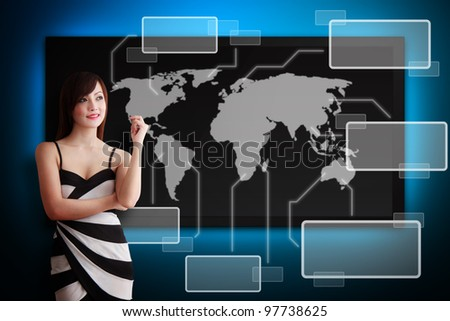 Beautiful secretary and world map on the digital screen