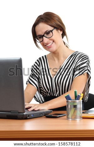 Beautiful secretary working happy in the office isolated on a white background