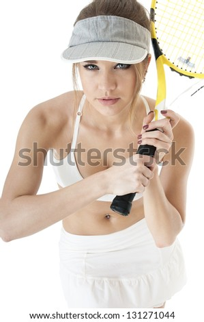 Beautiful  seductive  female tennis player with racket  ready to take a hit tennis ball. Healthy lifestyle concept.