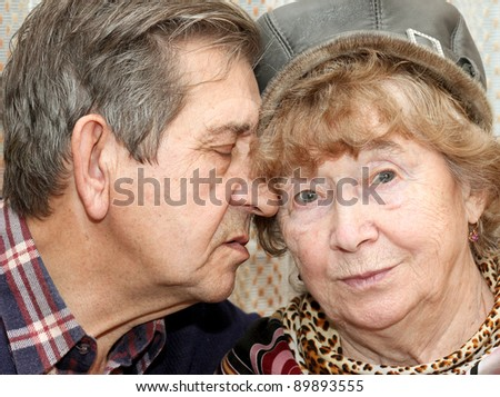 beautiful senior couple kissing