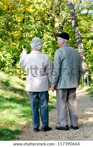 Beautiful senior couple walking in the park