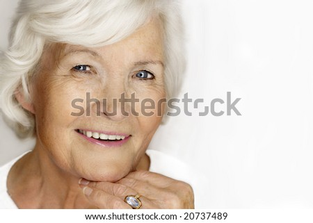Beautiful senior lady laughing