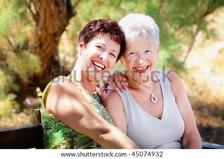 Beautiful senior mother and daughter