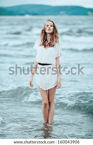 beautiful sensual girl in water portrait #160043906