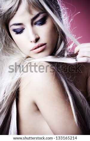 beautiful sensual young blond woman portrait