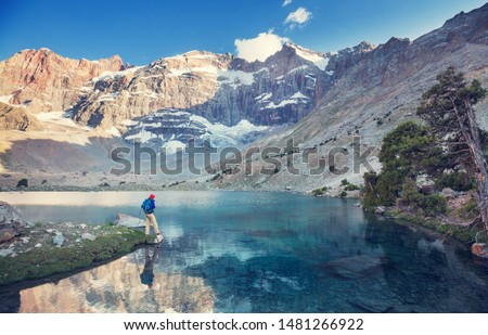 Beautiful serene lake in  Fanns mountains (branch of Pamir) in Tajikistan. #1481266922