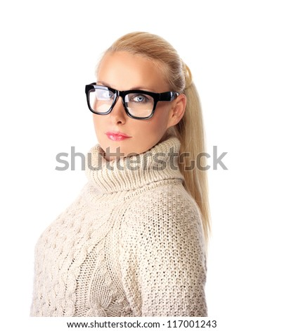 Beautiful serious woman with glasses on  white background .