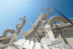 Beautiful serpent temple,Naga Temple, Serpent statue, The temple is beautiful, Thailand travel.