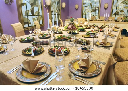 beautiful served table in a restaurant #10453300