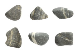 Beautiful Set of nature gray stones isolated on white background.Different kind of pebbles stones.