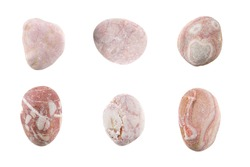 Beautiful Set of nature pink stones isolated on white background.Different kind of pebbles stones.