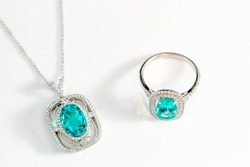 Beautiful set of necklace and ring with precious gemstone