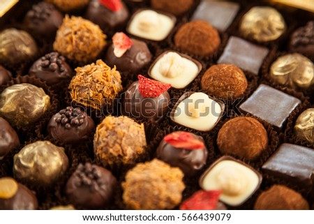 Beautiful set of tasty truffles - closeup shot