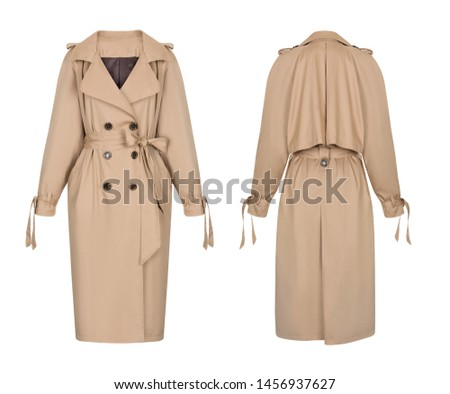 Beautiful set of women's clothes, beige trench coat with large buttons and a belt, front and back view, ghost mannequin, isolated on white background, clipping Stock photo ©