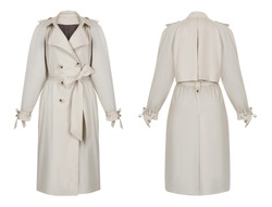 Beautiful set of women's clothes, gray trench coat with large buttons and a belt, front and back view, ghost mannequin, isolated on white background, clipping