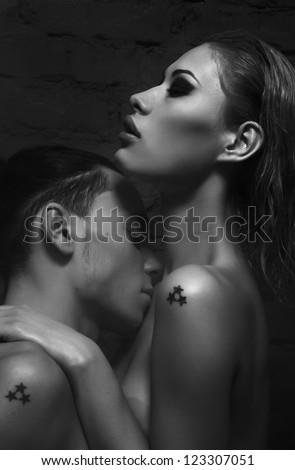 Beautiful Sexual Erotic Naked Couple Licking Posing Stock Photo ...