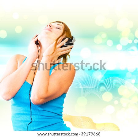 beautiful sexual woman in headphones #39179668