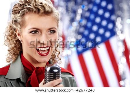 Beautiful sexy army woman singing