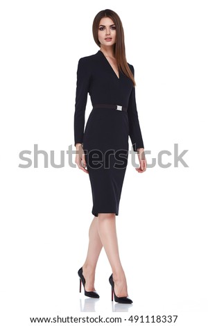 Beautiful sexy brunette woman business office style fashion clothes summer fall collection perfect body shape pretty face makeup smile wear black dress blouse skirt casual accessory glamour model. #491118337
