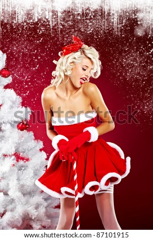 stock photo : beautiful sexy girl wearing santa claus clothes