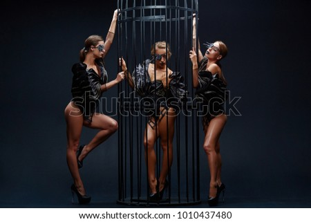 Beautiful sexy go-go performers isolated on black. Sexy girl dance group posing in black underwear near the cage