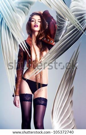 beautiful sexy woman and big wings - stock photo