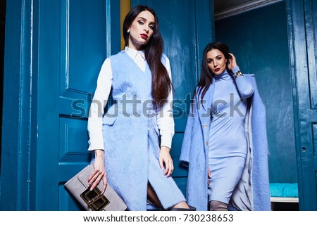 Beautiful sexy woman lady wear casual style outerwear wool cashmere coat trench blue color pretty face dark natural hair spring autumn collection glamour model fashion clothes interiors door. - Shutterstock ID 730238653