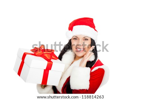 Beautiful sexy woman wear Santa Clause costume, christmas girl happy smile hold new year gift box present, point finger side empty copy space, isolated on white background