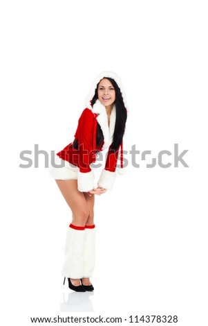 Beautiful sexy woman wear Santa Clause costume, christmas new year party girl happy smile posing full length portrait isolated on white background