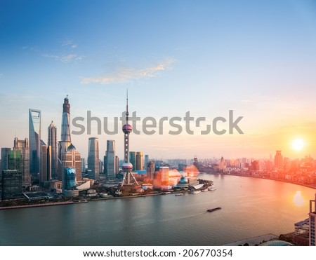 beautiful shanghai at dusk huangpu river and financial district skyline in sunset